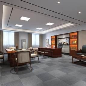 新中式老总办公室3D模型【ID:934838002】