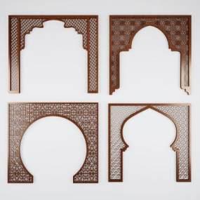 中式拱门隔断实木门洞3D模型【ID:330570799】