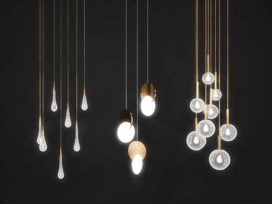 現代個性吊燈組合3D模型【ID:844664433】