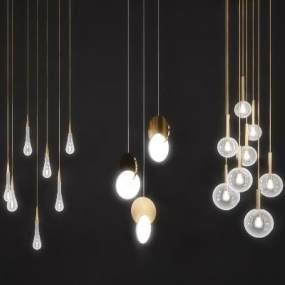 现代个性吊灯组合3D模型【ID:844664433】