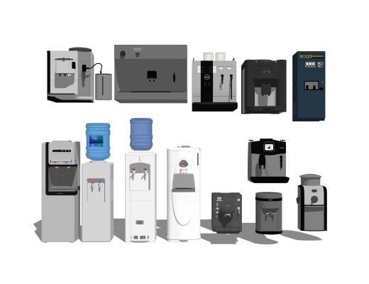现代饮水机咖啡机组合SU模型【ID:147988356】