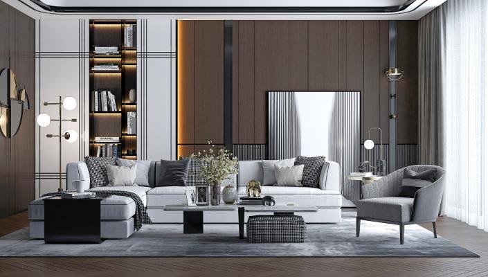 現代客廳沙發組合3D模型【ID:644005746】