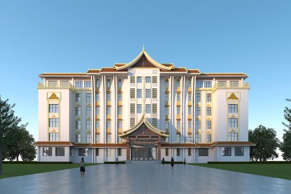 版納風格酒店3D模型【ID:147026923】