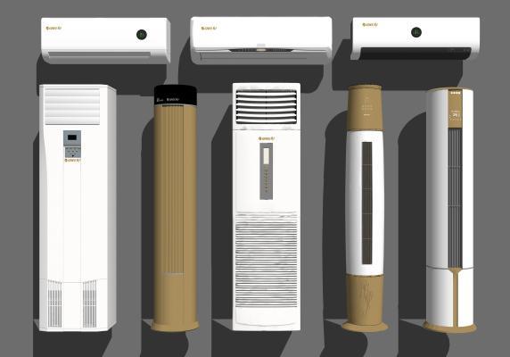 现代挂式空调立式空调组合SU模型【ID:747470007】
