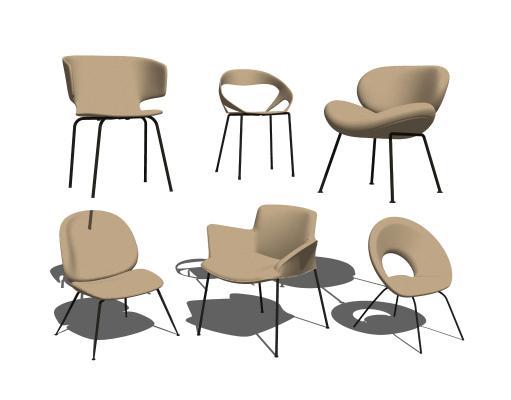 現代北歐單椅組合SU模型【ID:948629448】