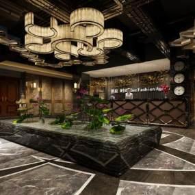 现代酒店大堂前台3D模型【ID:743418041】