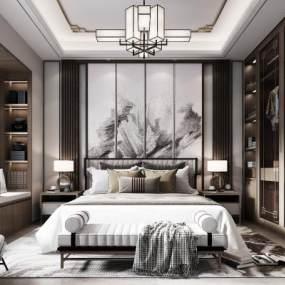 新中式卧室3D模型【ID:549305230】