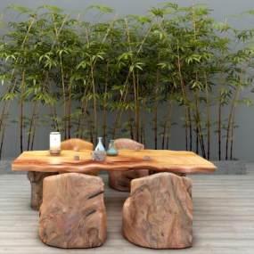 新中式实木户外桌椅竹子摆件组合3D模型【ID:831951997】