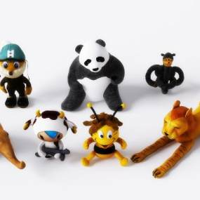 现代卡通动物玩偶3D模型【ID:353343407】