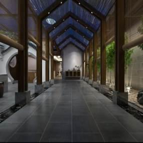 中式餐廳走廊過道3D模型【ID:747260433】