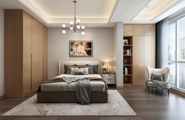 现代卧室3D模型【ID:541498253】