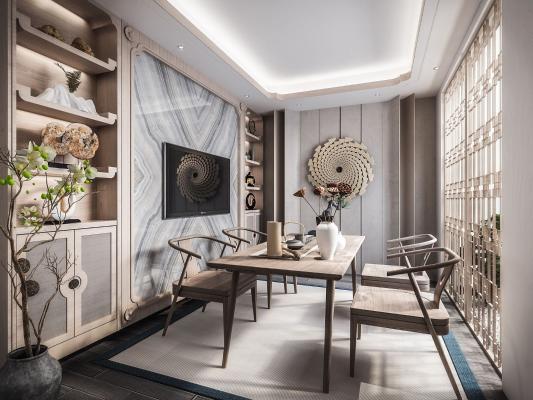 新中式茶室3D模型【ID:646224157】