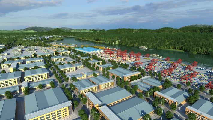现代三四线城市规划鸟瞰3D模型【ID:236224071】