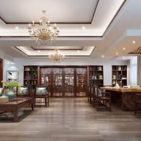 新中式休闲区及老总办公室3D模型【ID:934837072】