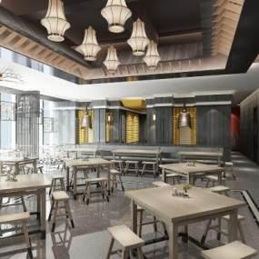 新中式中餐廳3D模型【ID:651198276】