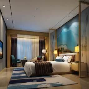 现代酒店客房 3D模型【ID:741558337】