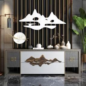 新中式玄关柜展示柜电视柜落地灯绿植3D模型【ID:135919034】