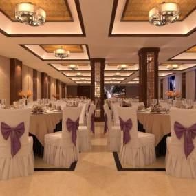 新中式宴会厅3D模型【ID:635432227】