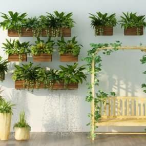 现代绿植盆栽吊椅组合3D模型【ID:237132770】