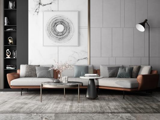 现代沙发组合3D模型【ID:645713734】