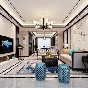 新中式客廳3D模型【ID:534780047】