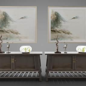 新中式风格装饰柜3D模型【ID:144291152】
