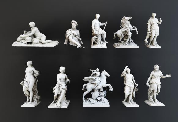 欧式简约罗马人物雕塑装饰摆件3D模型【ID:334859151】