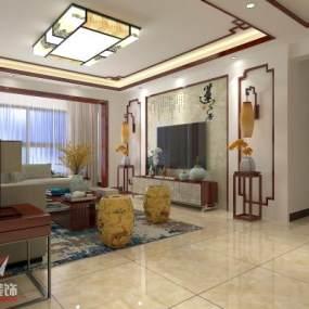 传统中式客餐厅3D模型【ID:542567061】