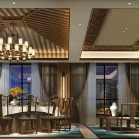 中式酒店包厢3D模型【ID:633285625】