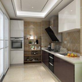 现代厨房3D模型【ID:535760310】