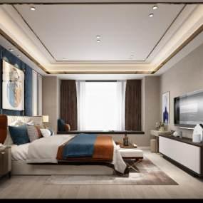 现代轻奢卧室3D模型【ID:553443296】