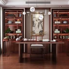 新中式书房 3D模型【ID:540765453】