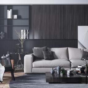 现代沙发茶几组合3D模型【ID:648960713】