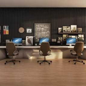 现代简约办公桌椅组合3D模型【ID:932882026】