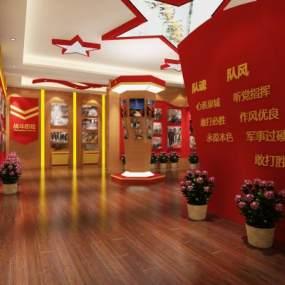 新中式军队部队党建展厅3D模型【ID:944097961】