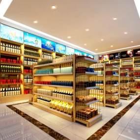现代酒水超市3D模型【ID:834215105】