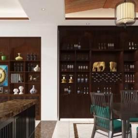 東南亞酒柜餐桌柜子組合3D模型【ID:648398245】