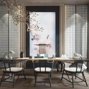 新中式茶室3D模型【ID:541312475】