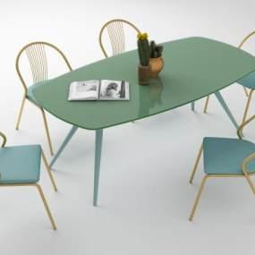 现代轻奢餐桌椅组合3D模型【ID:844390839】