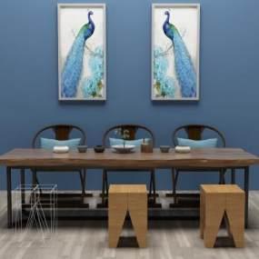 新中式餐桌椅3D模型【ID:832928828】