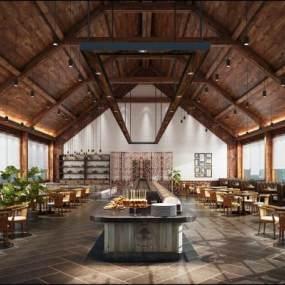 新中式自助餐复古餐厅3D模型【ID:637125271】
