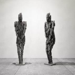 現代抽象人物雕塑3D模型【ID:347097148】