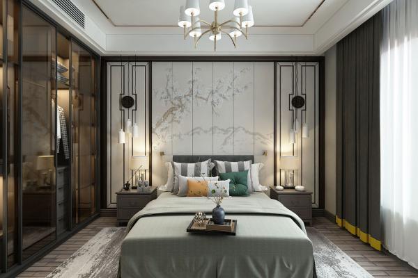 新中式卧室3D模型【ID:542339205】