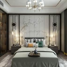新中式卧室 3D模型【ID:542339205】