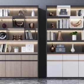 现代实木书柜3D模型【ID:153022510】