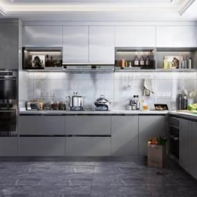 现代风格厨房3D模型【ID:544846309】