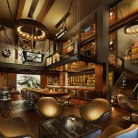 新古典美式酒吧3D模型【ID:634327942】