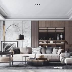 现代轻奢沙发茶几单椅组合3D模型【ID:635802721】