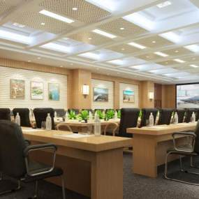 现代风格大会议室3D模型【ID:948317140】