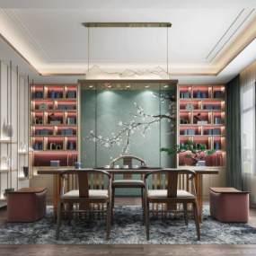 現代新中式茶室3D模型【ID:552115465】